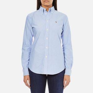 Ralph Lauren Women's Slim Fit Blue Button Down Top